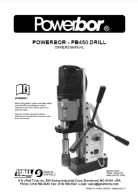 Powerbor 450 Owners Manual